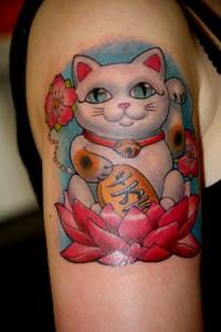 Lucky Cat Tattoo Design