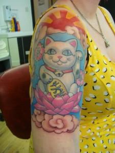 Lucky Cat Tattoo Sleeve