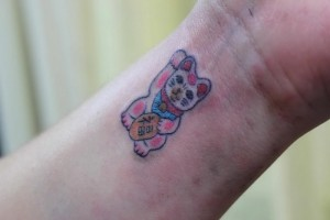 Lucky Cat Tattoo Wrist