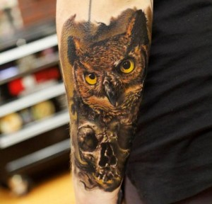 Owl Skull Face Tattoo