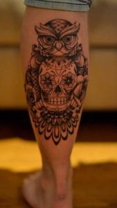 Owl Skull Tattoo Leg