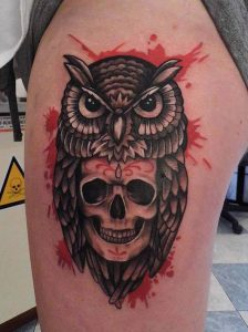 Owl Tattoo with Skull
