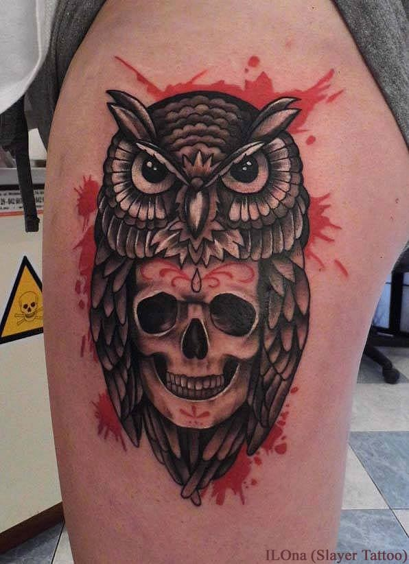 Owl skull tattoos designs ideas and meaning tattoos for you for Owl and sugar skull tattoo