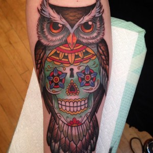 Owl with Sugar Skull Tattoo