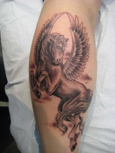 Pegasus Tattoo on Leg