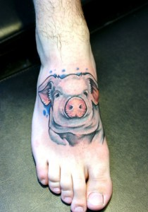 Pig Tattoo on Foot