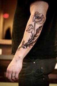 Poppy Flower Tattoo Black and White