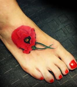 Poppy Flower Tattoo on Foot