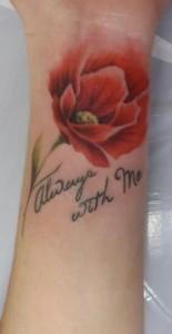 Poppy Flower Wrist Tattoo