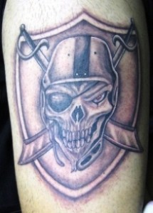 Raiders Leg Tattoos