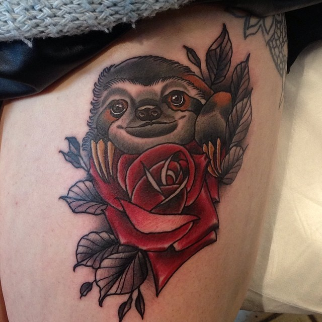 sloth tattoos designs ideas and meaning tattoos for you. Black Bedroom Furniture Sets. Home Design Ideas
