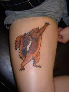 Squirrel Tattoo on Leg