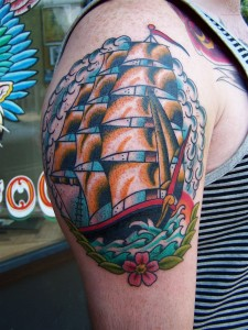 Traditional Clipper Ship Tattoo