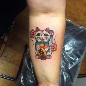 Traditional Lucky Cat Tattoo