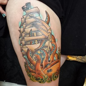 Traditional Pirate Ship Tattoo