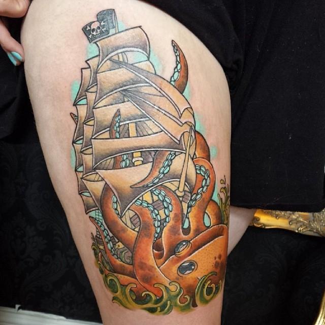 30+ Nice Pirate Tattoos On Back  |Pirate Ship Tattoo