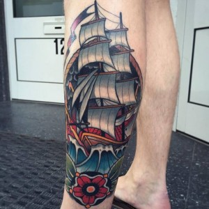 Traditional Ship Leg Tattoo