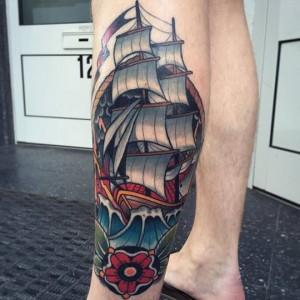 Traditional Ship Leg Tattoo