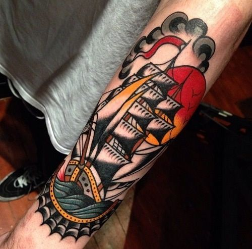 Traditional ship tattoos designs ideas and meaning for Forearm tattoo gallery