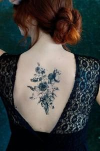 Wildflower Tattoo Black and White