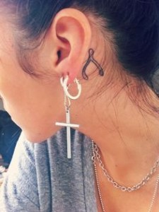 Wishbone Tattoo Behind Ear