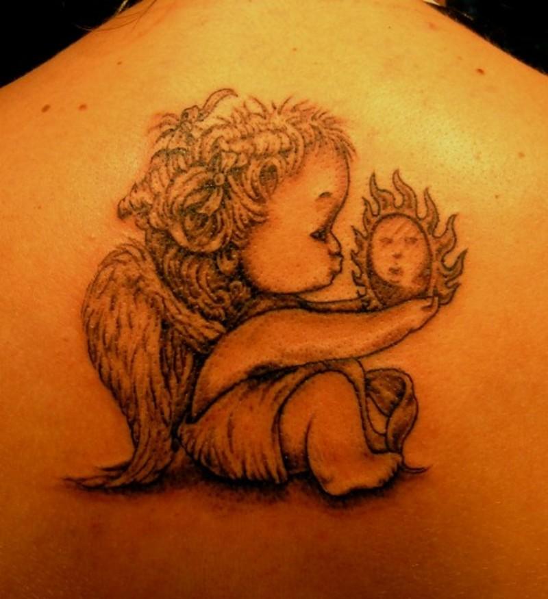 Baby angel tattoo for girls