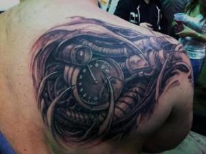 Biomech Tattoo Shoulder