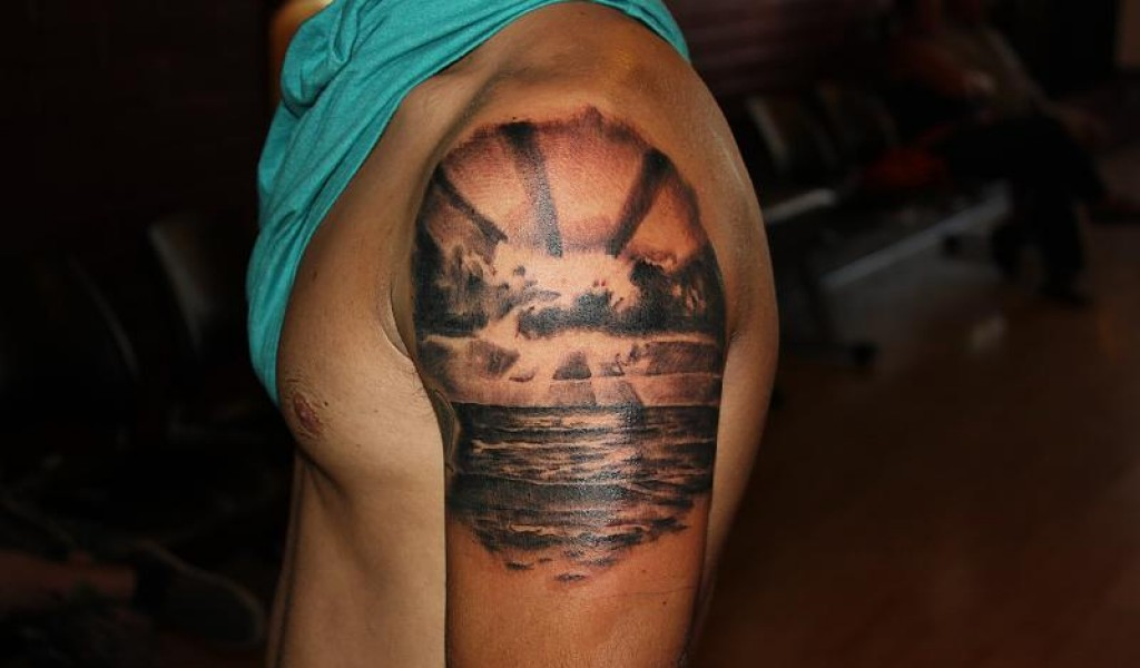 Sunset tattoos designs ideas and meaning tattoos for you for Ocean tattoos black and white