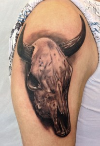 Bull Skull Sleeve Tattoo