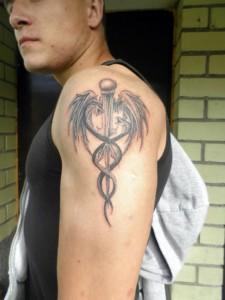 Caduceus Tattoo on Arm