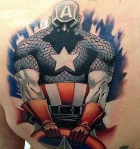 Captain America Back Tattoo