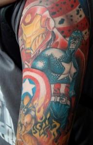 Captain America Sleeve Tattoos
