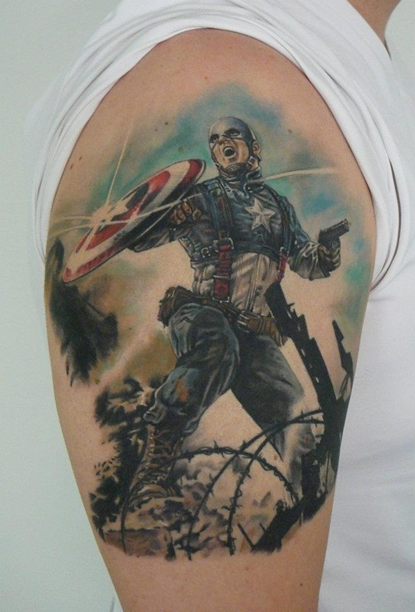 Captain america tattoos designs ideas and meaning for Marvel sleeve tattoo black and white