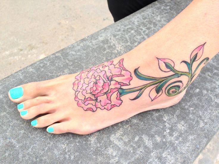 Pink Carnation Flower Tattoo