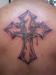 Cross and Crown of Thorns Tattoo