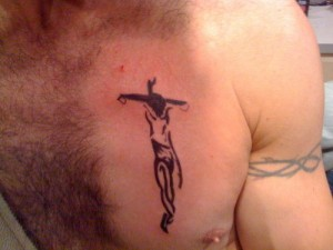 Crucifix Tattoo on Chest