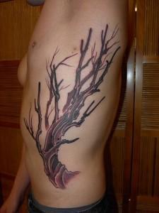 Dead Tree Tattoo on Ribs