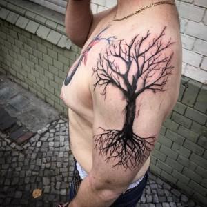 Dead Tree Tattoo on Shoulder