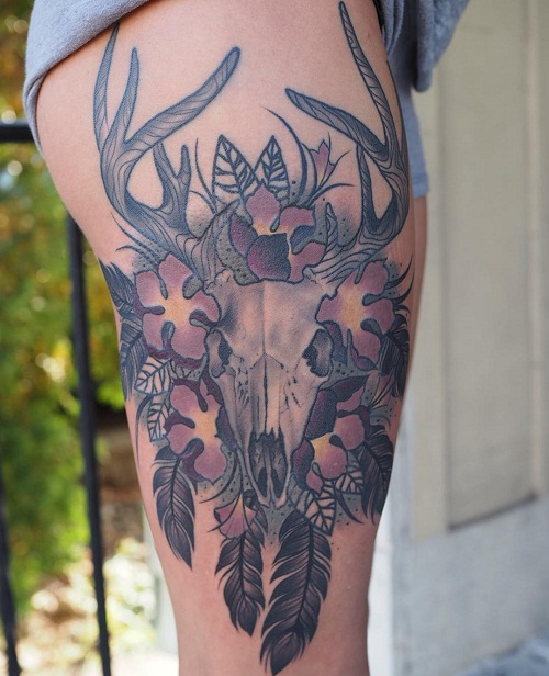 Deer Tattoos For Girls : Deer skull tattoos designs ideas and meaning