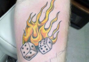 Dice on Fire Tattoos