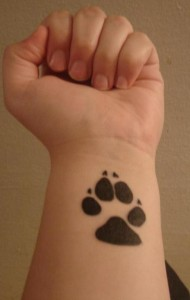 Dog Paw Print Tattoo on Wrist