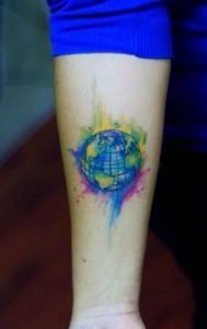 Earth Tattoo on Wrist