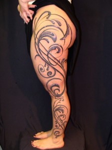 Female Leg Sleeve Tattoo