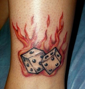 Flaming Dice Tattoo