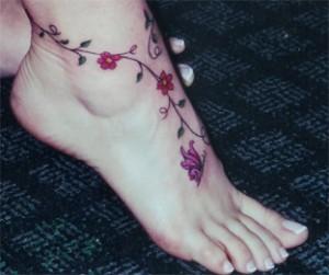 Flower Ankle Bracelet Tattoos