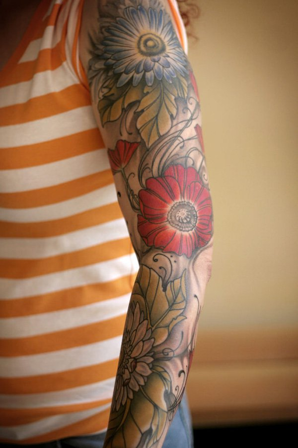 Flower sleeve tattoos designs ideas and meaning tattoos for How to make a tattoo sleeve