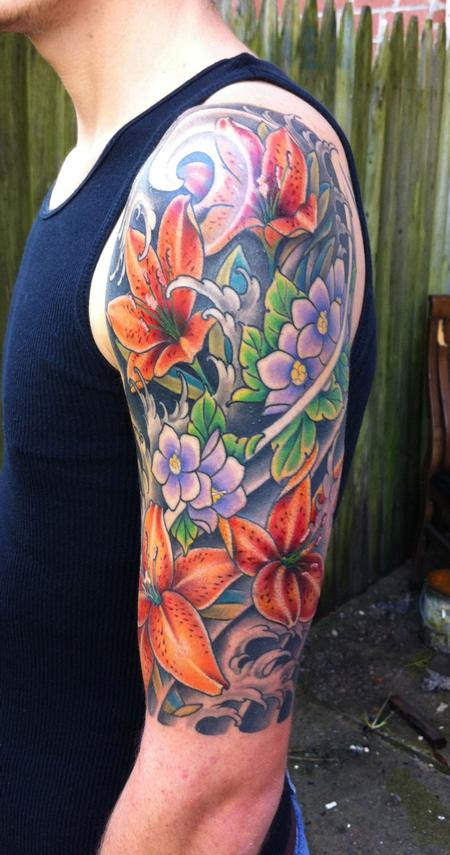Flower sleeve tattoos designs ideas and meaning tattoos for Flower tattoo arm