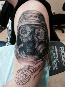 Gas Mask Tattoo on Hand