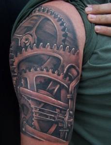 Gear Tattoo on Shoulder
