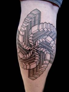 Geometric Optical Illusion Tattoos